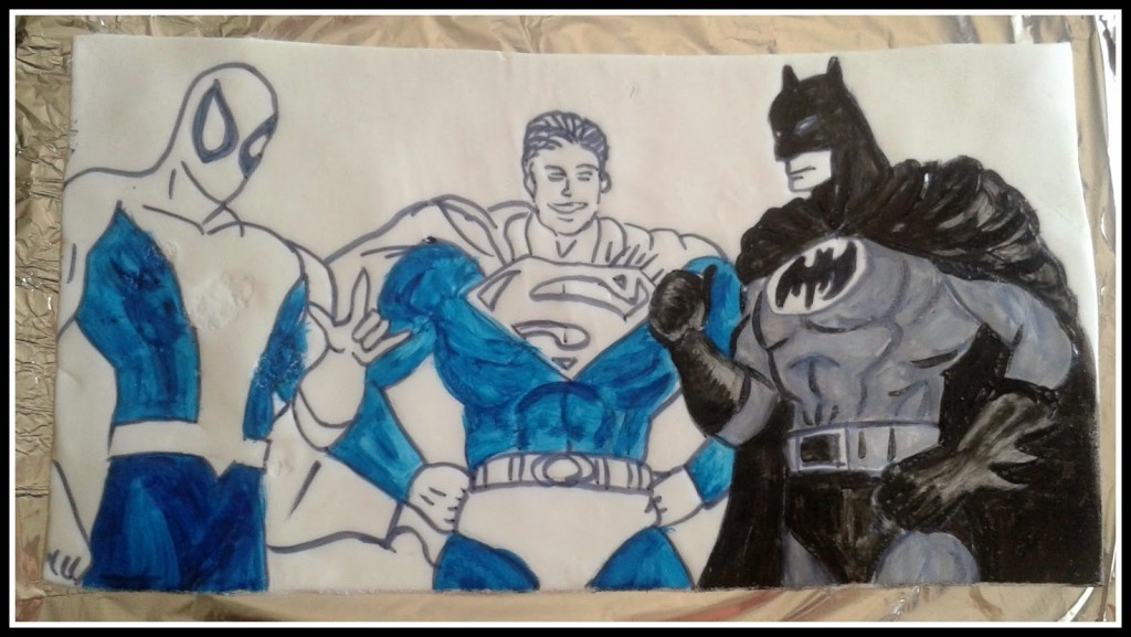 cialda con supereroi superman, uomo ragno spidrman, batman