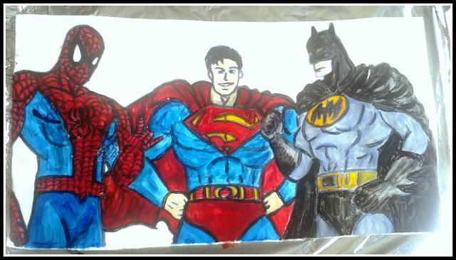 super hero cake superman batman spiderman