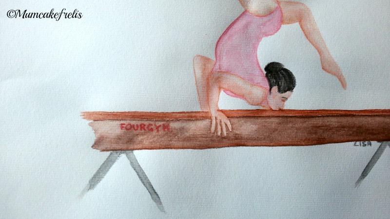 disegno matite acquarellabili ginnasta su trave