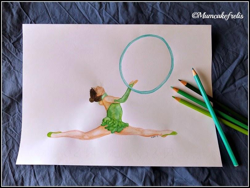 ginnasta col cerchio dipinta a mano con matite acquarellabili
