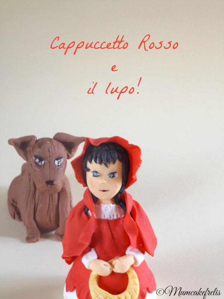 topper in pasta di zucchero raffigurante cappuccetto rosso e il lupo Little Red Riding Hood Fondant