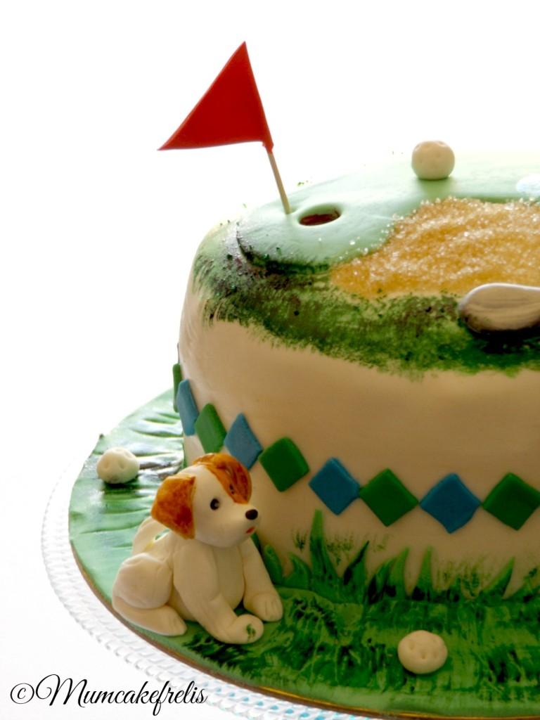 torta golf con buca e sabbia