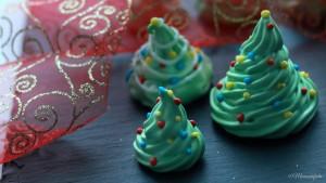 alberi di Natale di meringa francese