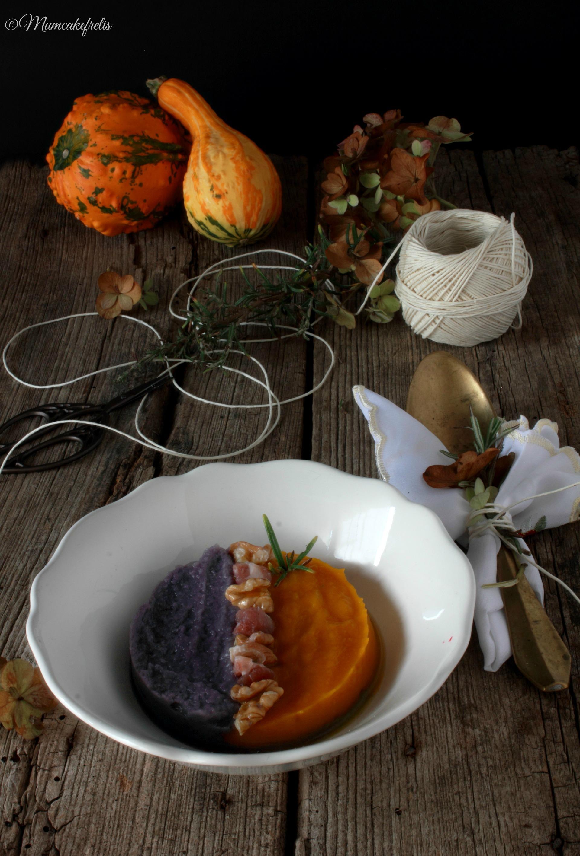 Vellutata bicolore con noci e pancetta