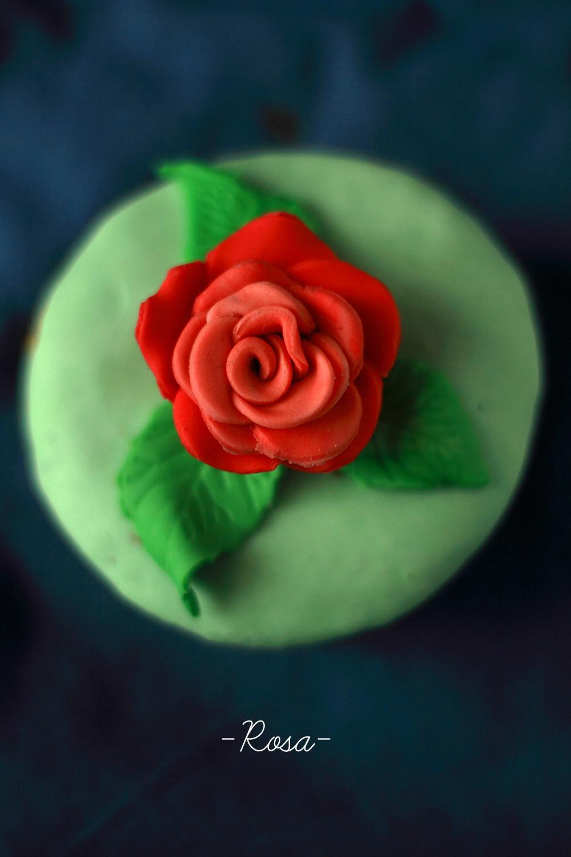 Cupcake con rosa