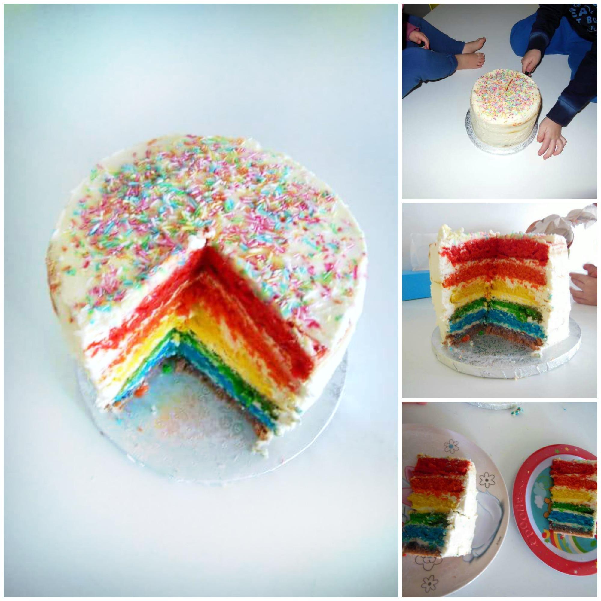 Rainbow cake dentro