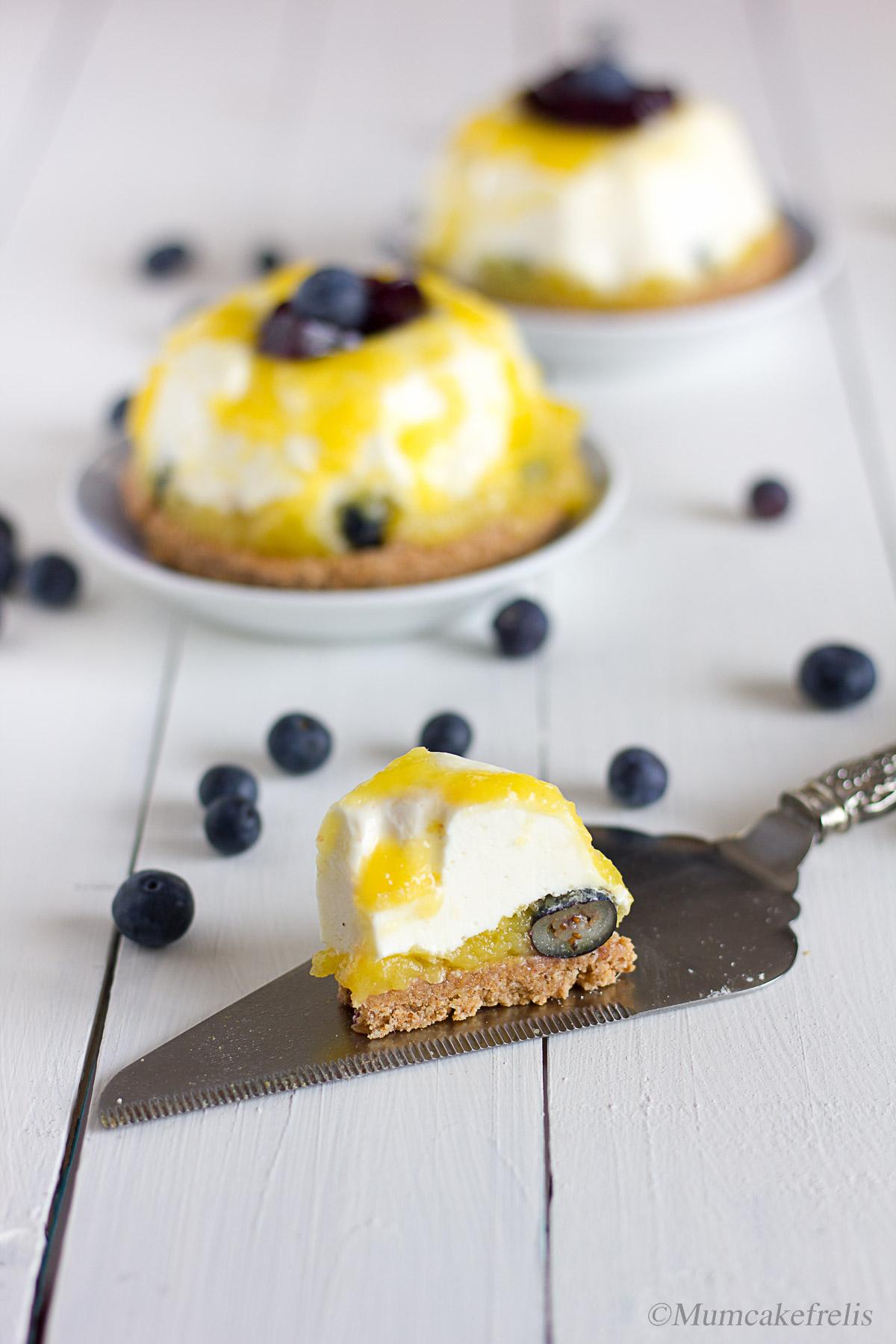 mini cheesecake con mango