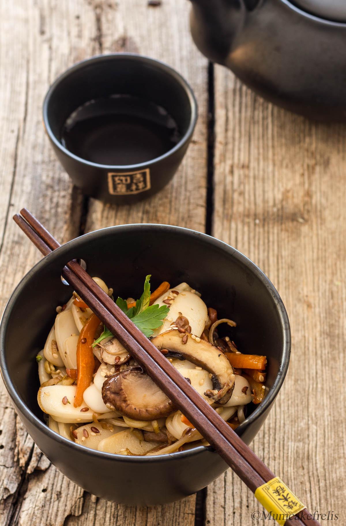 gnocci cinesi di riso cottura