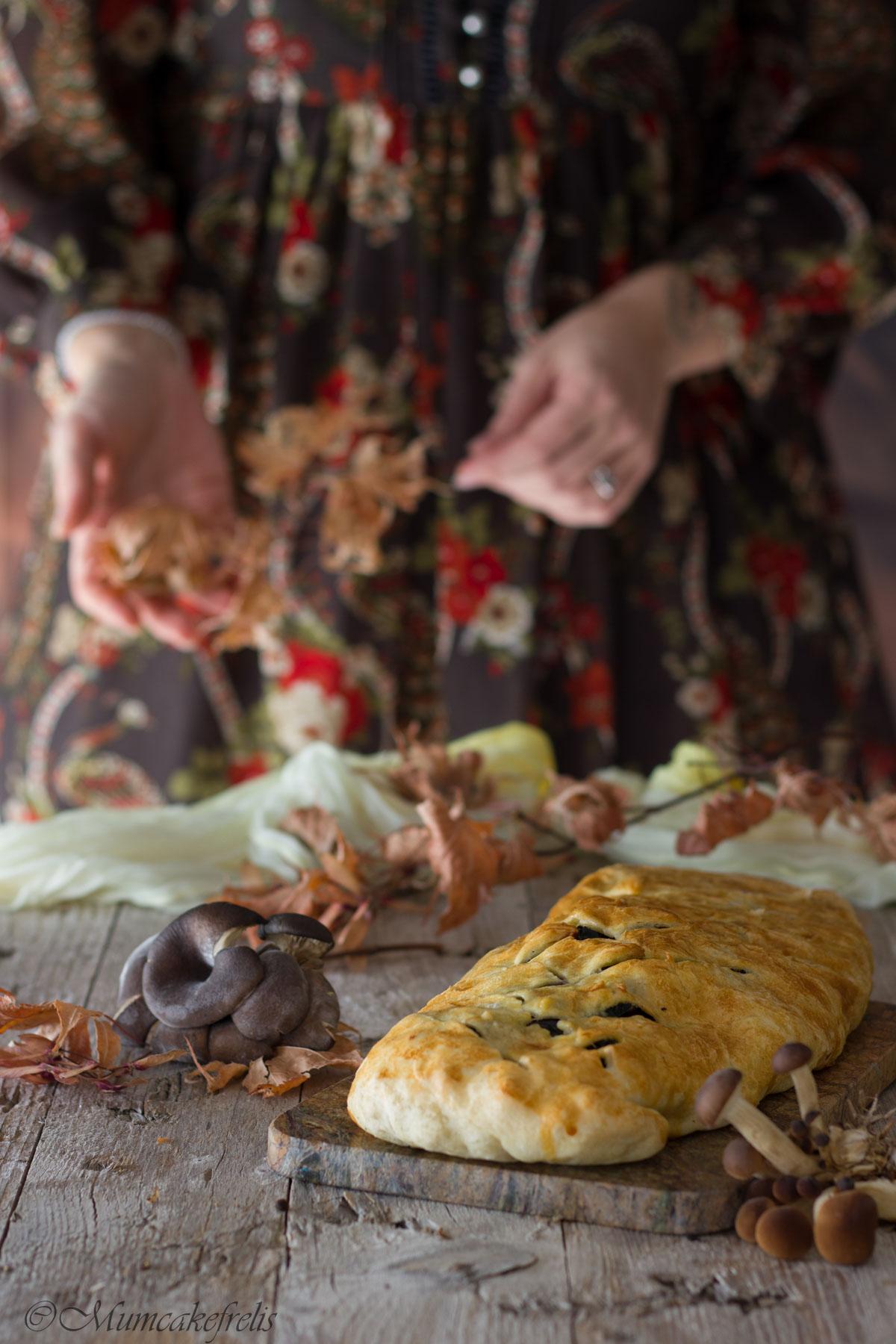 rotolo di funghi e spinaci