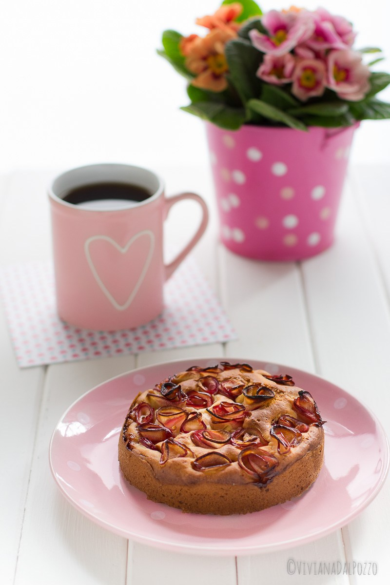 torta alla ricotta con rose di mela