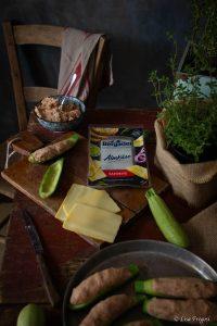 zucchine ripiene con fettine di formaggio Bergader