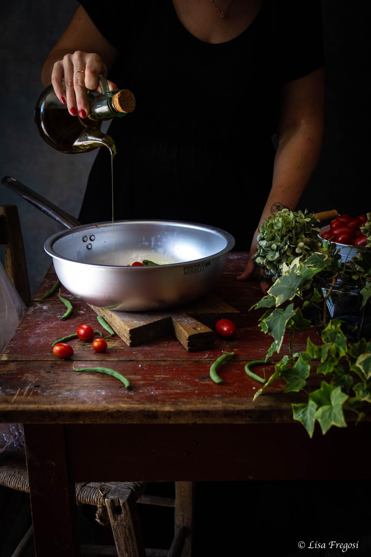 Corzetti avvantaggiati con fagiolini e pomodorini