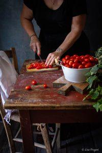 Corzetti condimento fagiolini e pomodori