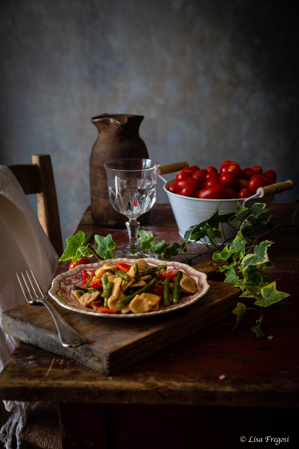 ricetta dei Corzetti avvantaggiati con fagiolini e pomodorini