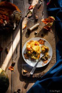 pasta al forno con zucca, funghi e taleggio