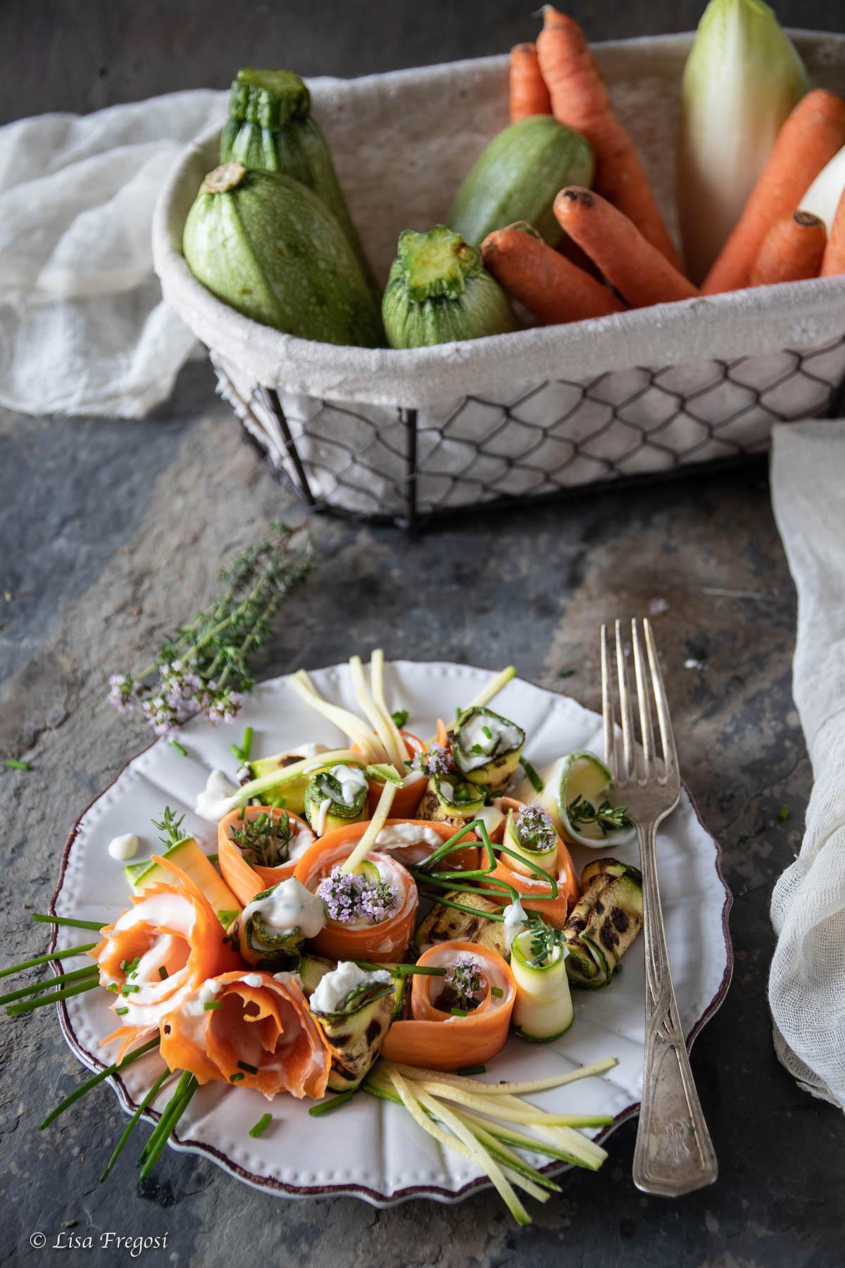 Rotolini di verdure con crema al parmigiano reggiano dop