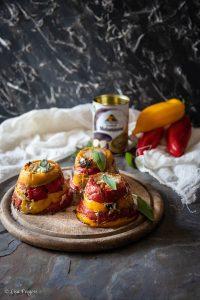 timballo di cernia, peperoni e crema di melanzane