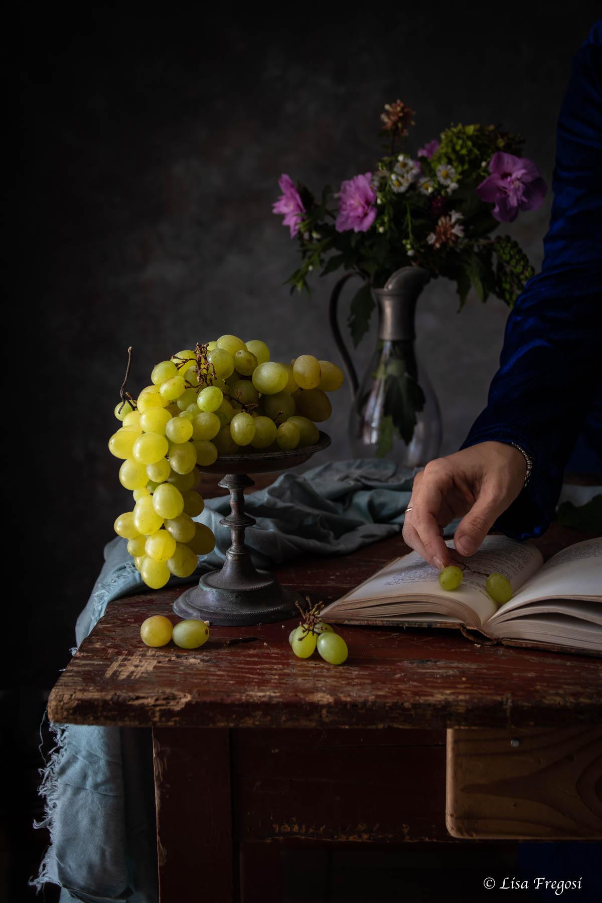uva bianca still life ricetta torta veloce con confettura di uva spina