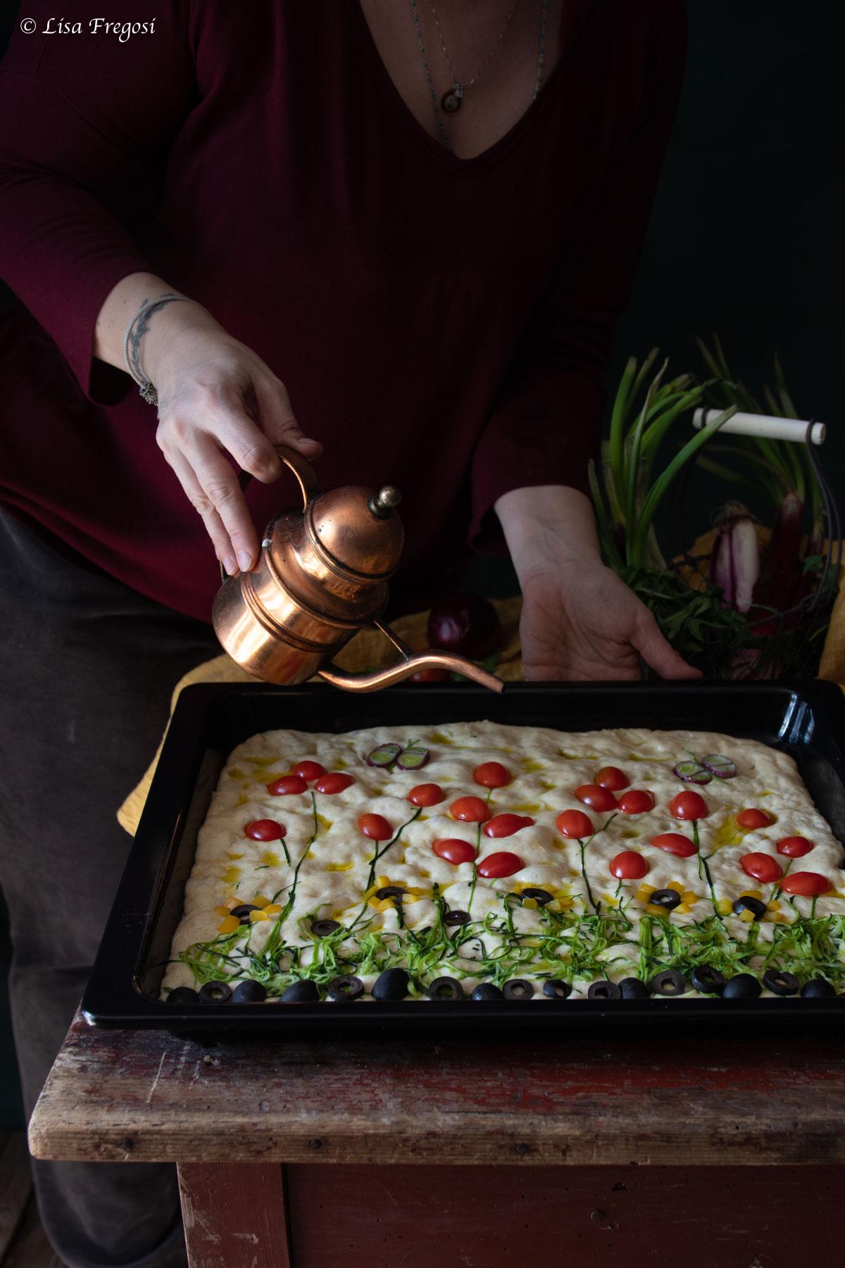 focaccia giardino o focaccia primavera, la Garden Focaccia ricetta
